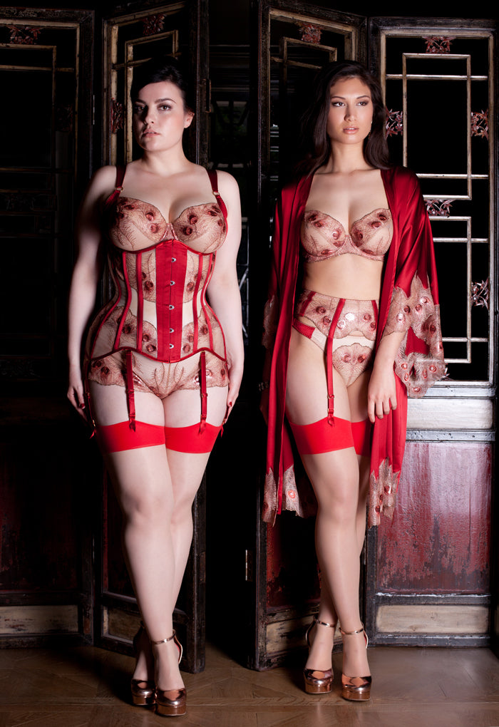 Luxury red metallic lingerie, silk robe and corset for DD+ bra sizes