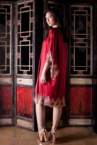 Juliette red and gold silk Kimono by Harlow & Fox
