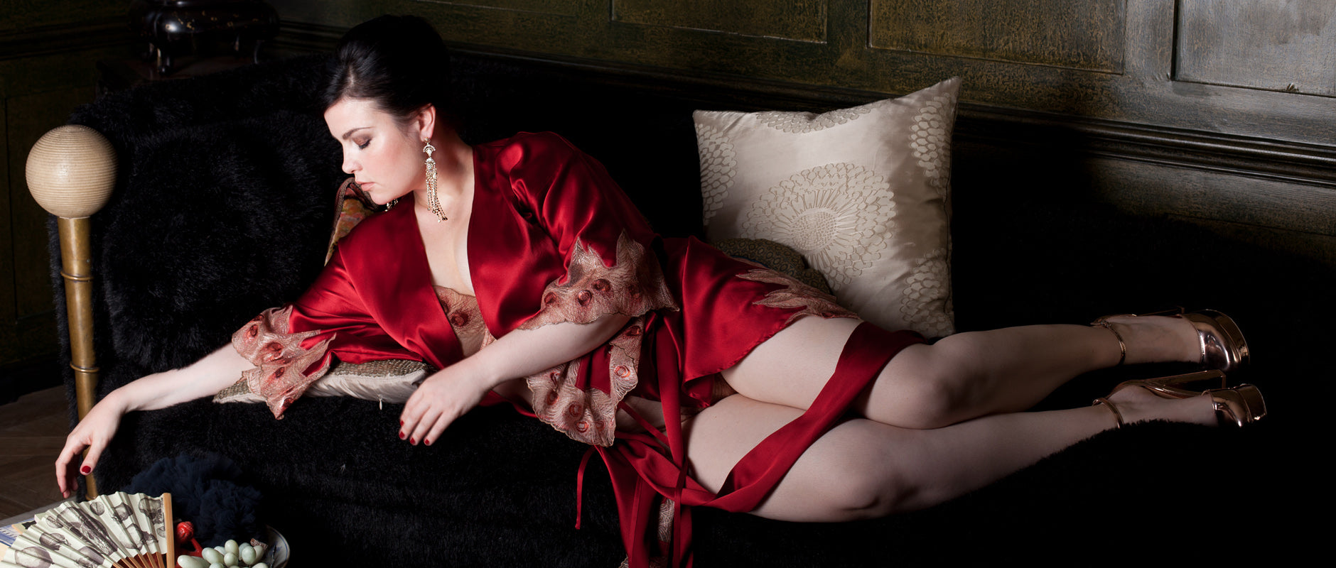 Juliette red silk and metallic embroidery luxury lingerie