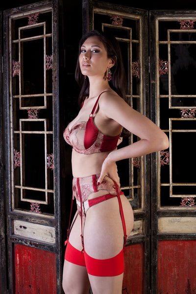 Juliette red and gold metallic Suspender by Harlow & Fox