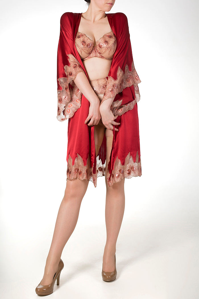 Red silk robe and luxury red and gold DD+ cup bra and lingerie