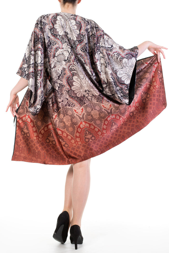 Printed silk robe with silk lining in red, black, white and grey