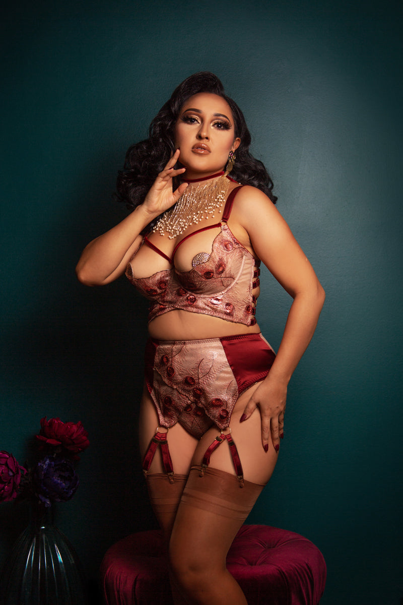 Luxury open cup bra in red and gold with retro garter belt
