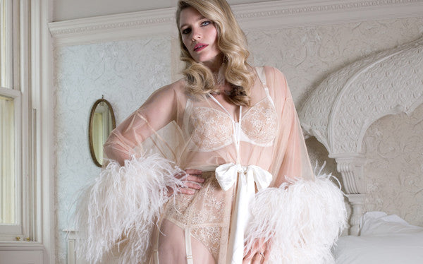 Serena Ivory luxury feathered boudoir robe