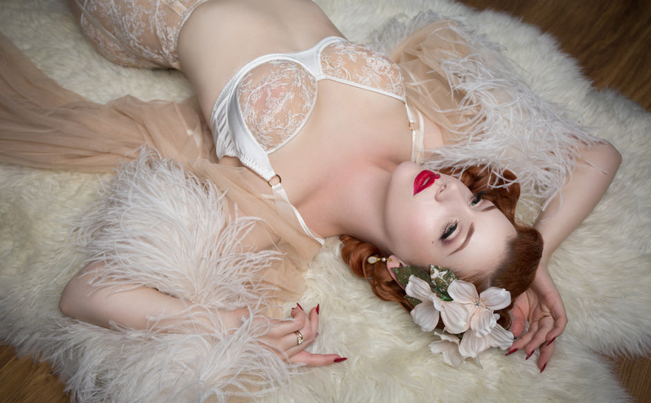 Vintage style bridal lingerie with feather robe