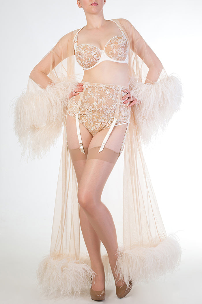 Ivory sheer feather boudoir robe and vintage style lingerie for DD-G cup bra sizes