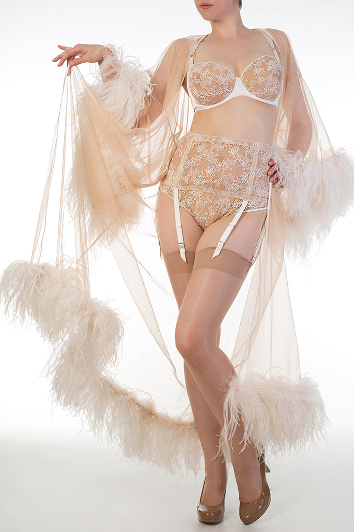 Feather boudoir robe with ivory sheer lingerie for DD+ bra sizes