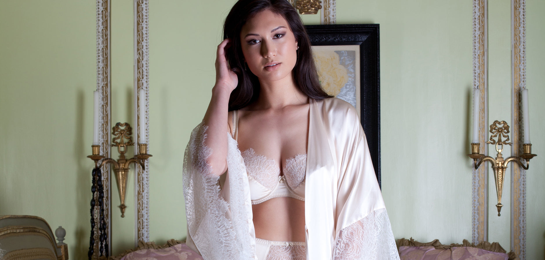 Luxury silk and lace wedding night lingerie