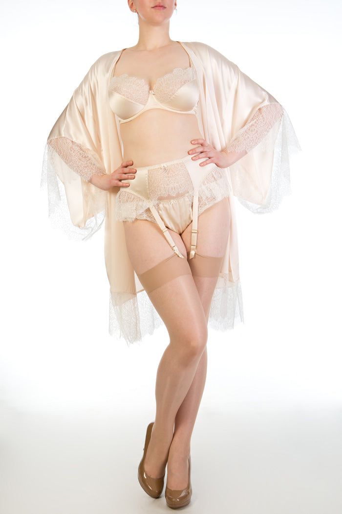 Silk vintage style lingerie and DD+ bra with cream silk robe