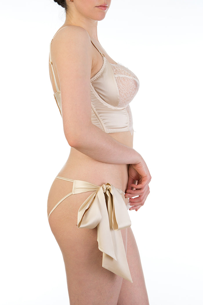 Bridal lingerie with silk tie side brief