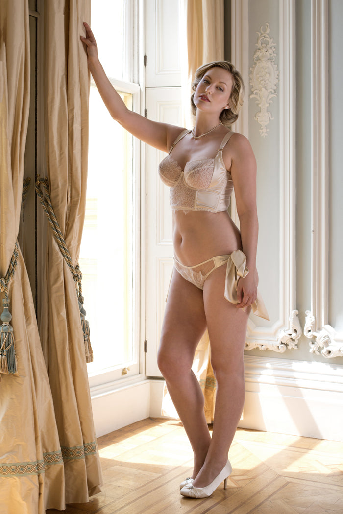 Luxury longline bra in silk and lace for DD-G cup bridal lingerie