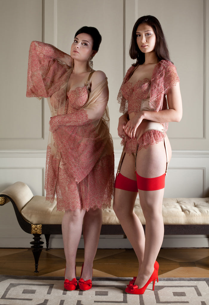 Viola Hazel red lace lingerie and sheer robe