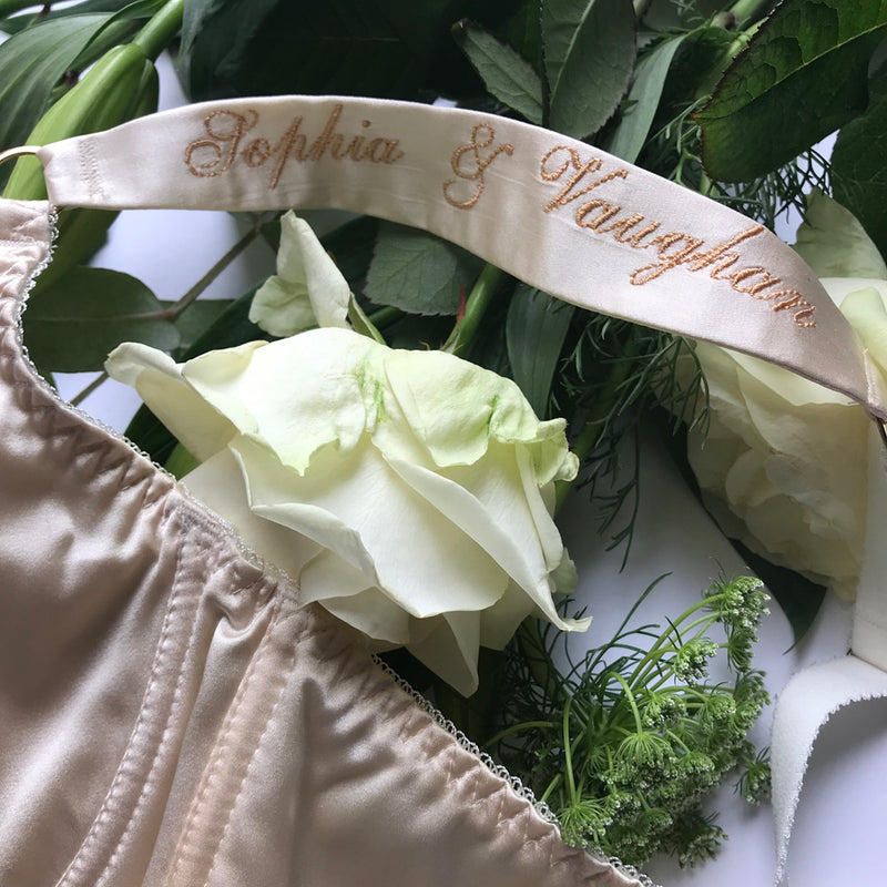 Bespoke bridal lingerie with personalised silk bra straps