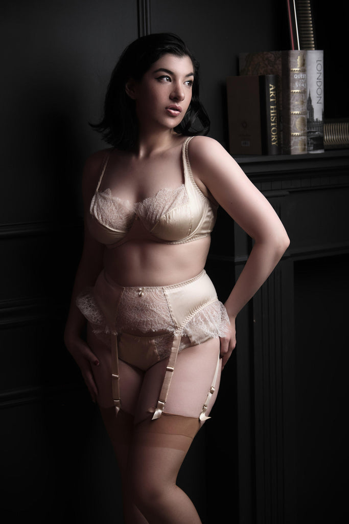 Eleanor Almond silk DD - G cup bra by Harlow & Fox worn by Holly Harlott