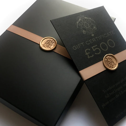 Luxury lingerie gift card, beautifully wrapped in gift box