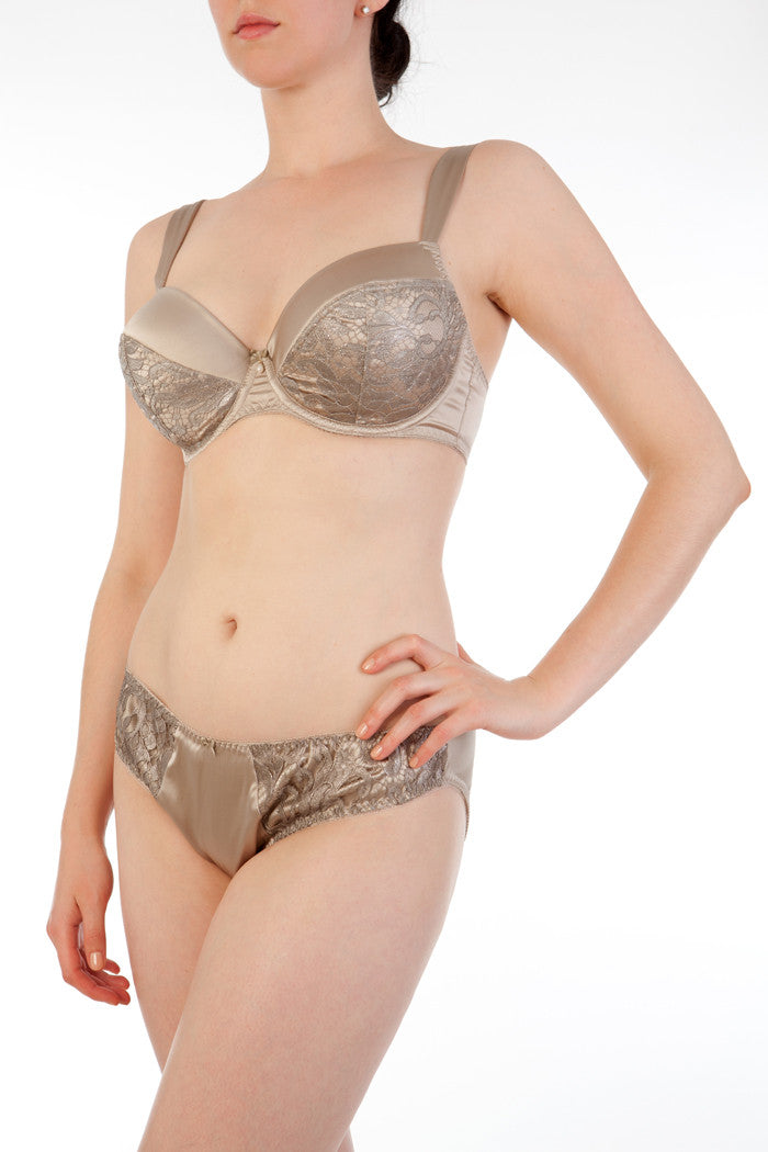 Oyster silk and metallic lace DD+ bra and briefs