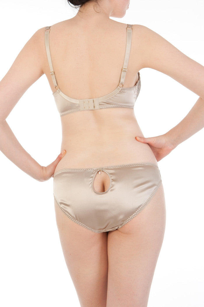 Oyster silk balconnette bra and classic briefs