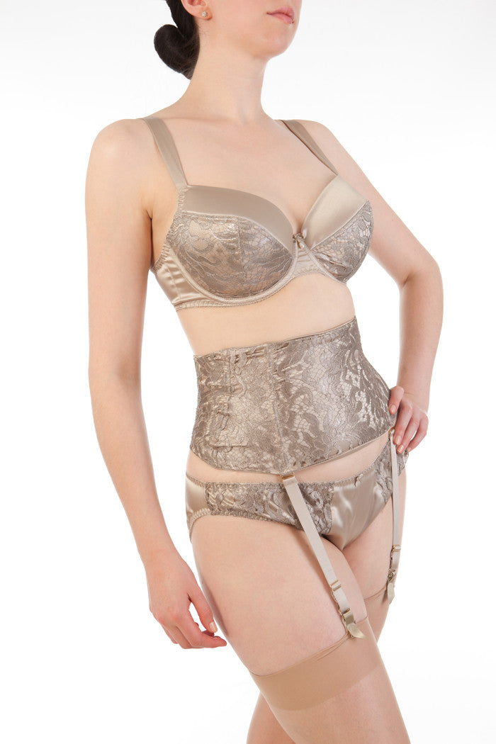 Luxury oyster silk and lace lingerie set with waist cincher