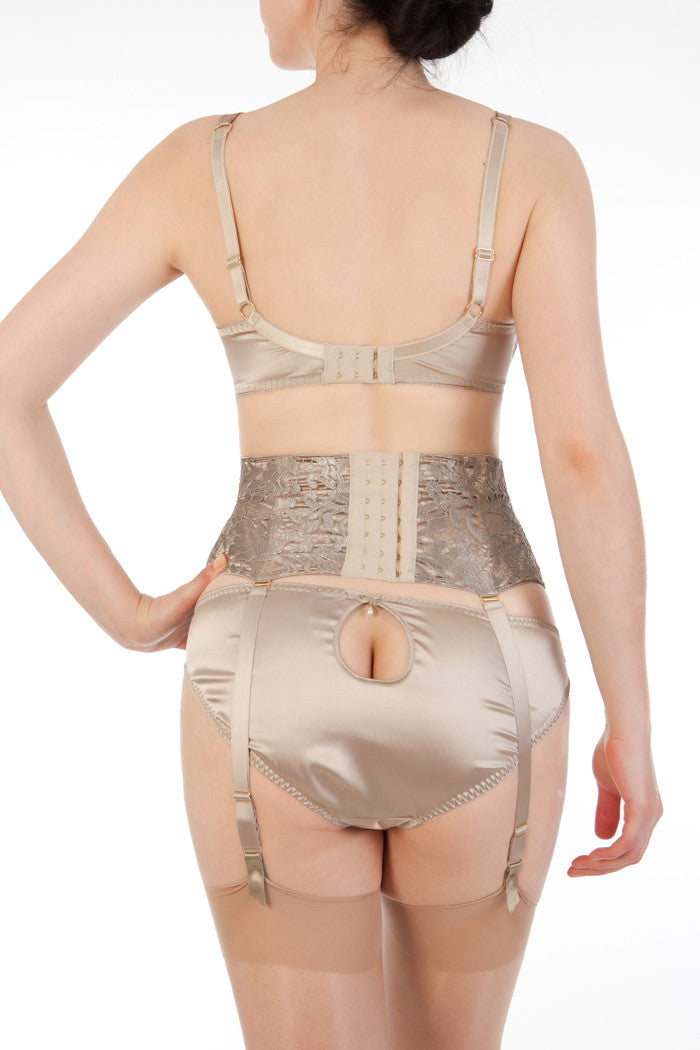 Oyster silk and lace lingerie with waist cincher