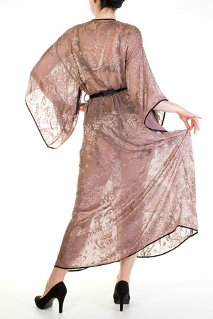 Andromeda sheer silk devore floor length robe