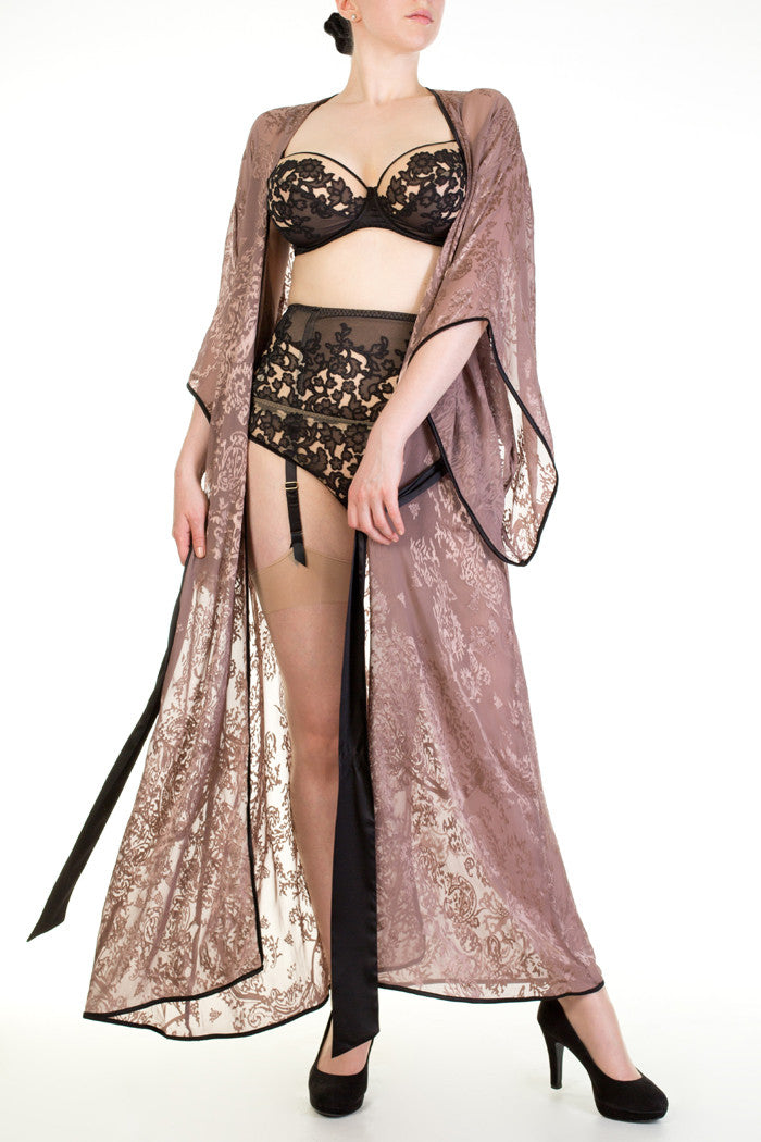 Andromeda sheer floor length kimono and lingerie collection
