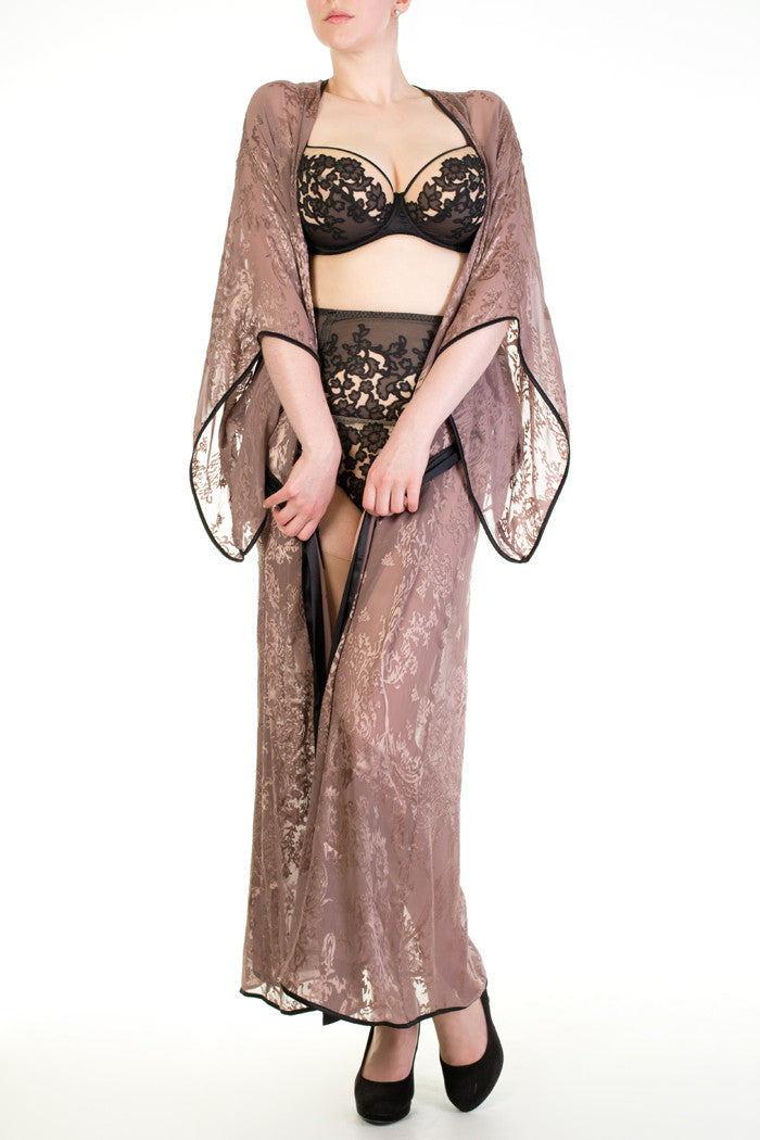 Andromeda sheer dusky pink long robe