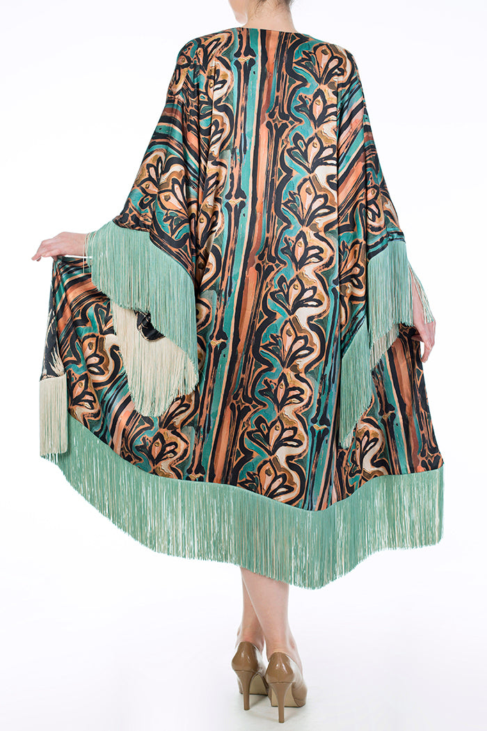 Harlow & Fox Anna Hayman Fringed Pure Silk Robe