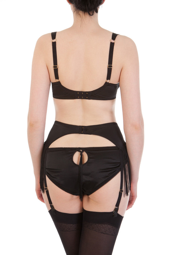 Augusta Jet luxury silk DD+ bra with fringed suspender, back view