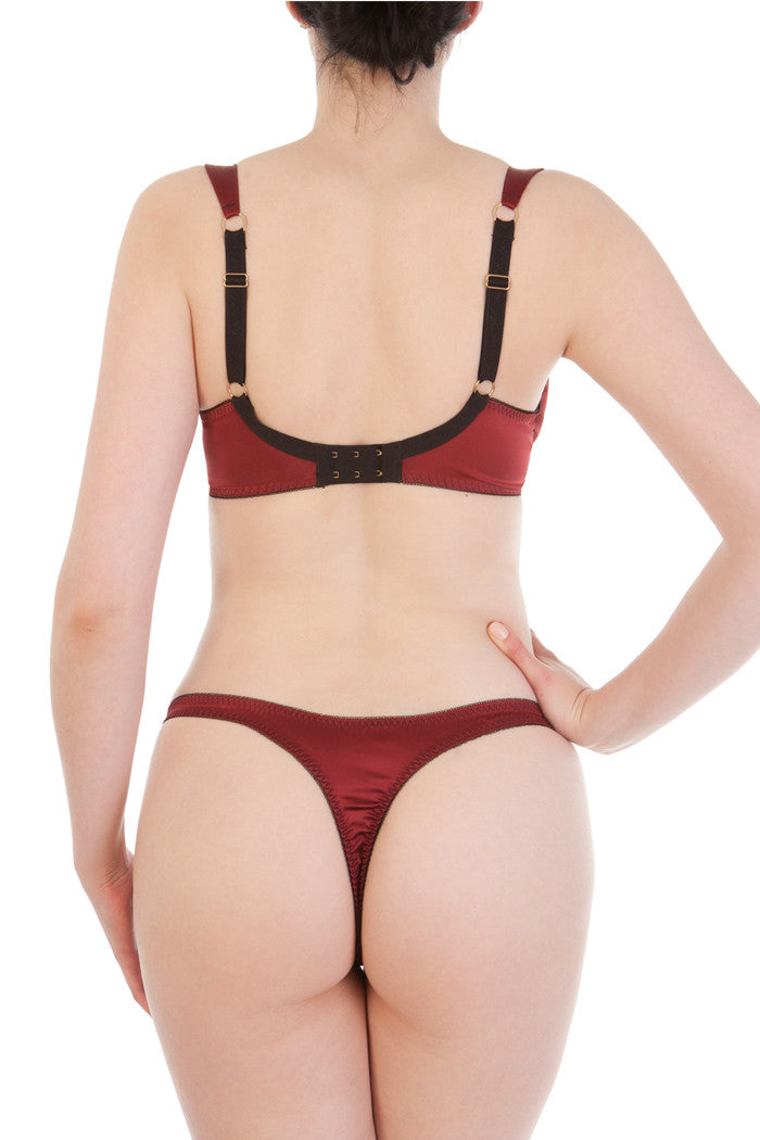 Augusta Scarlet red silk bra and thong
