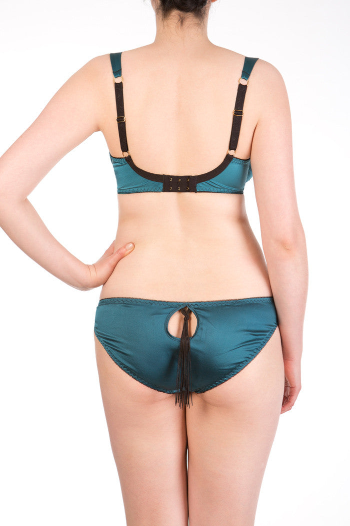 Augusta Teal luxury silk lingerie set for DD+ sizes, with tassel detail