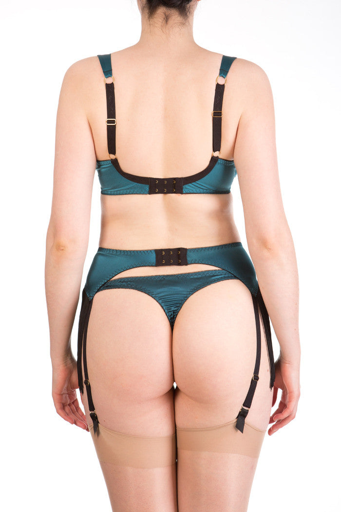 Augusta Teal luxury full bust bra, silk thong and fringed suspender