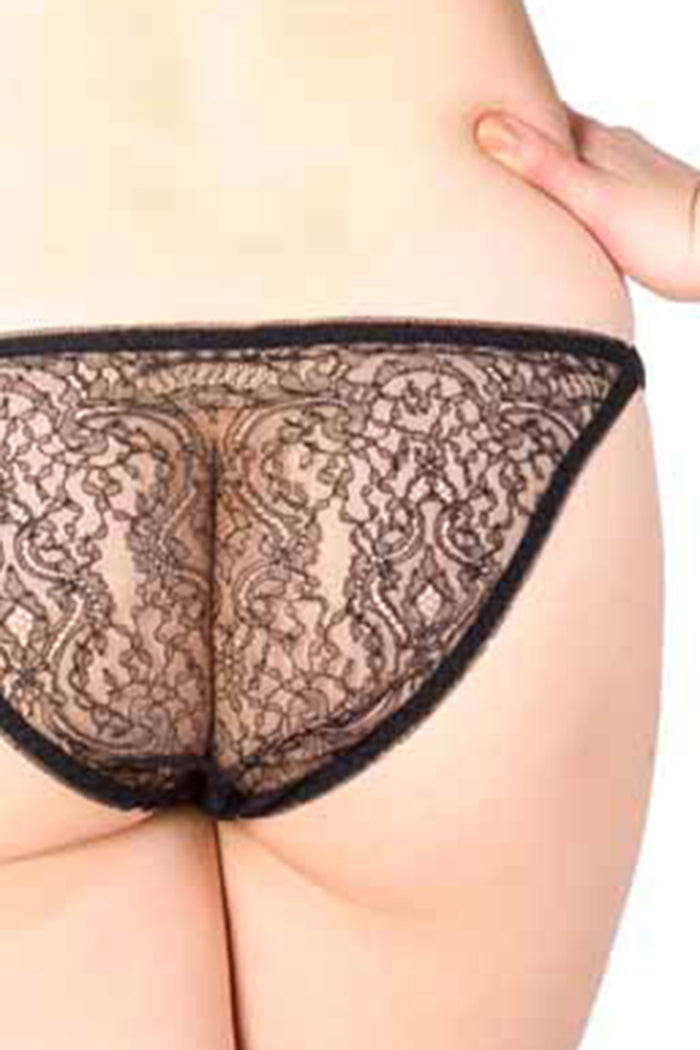 Black Lace Tanga Brief Closeup