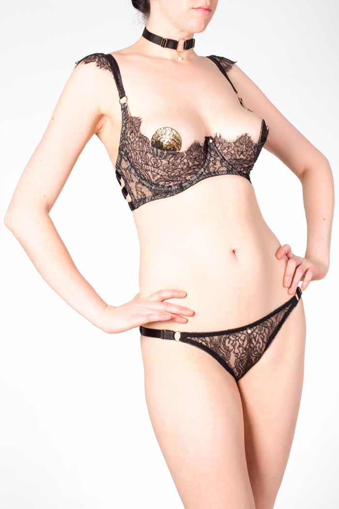 Aurora Black Lace Tanga Brief and Open Cup Boudoir Bra
