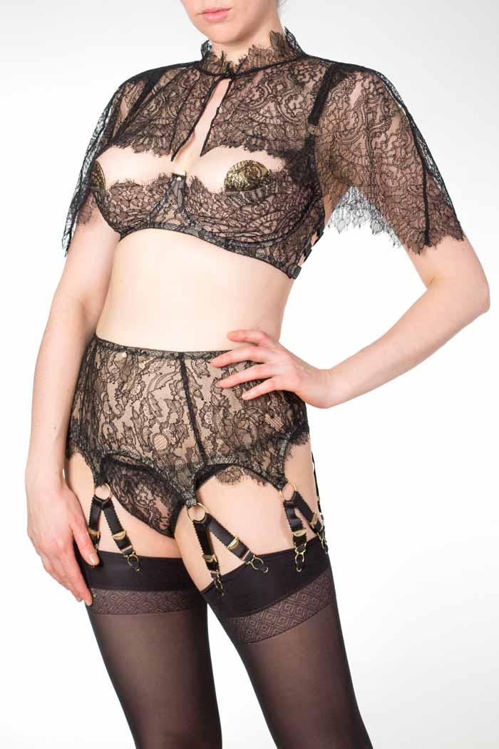 Aurora black lace boudoir capelet and deep 12 strap suspender