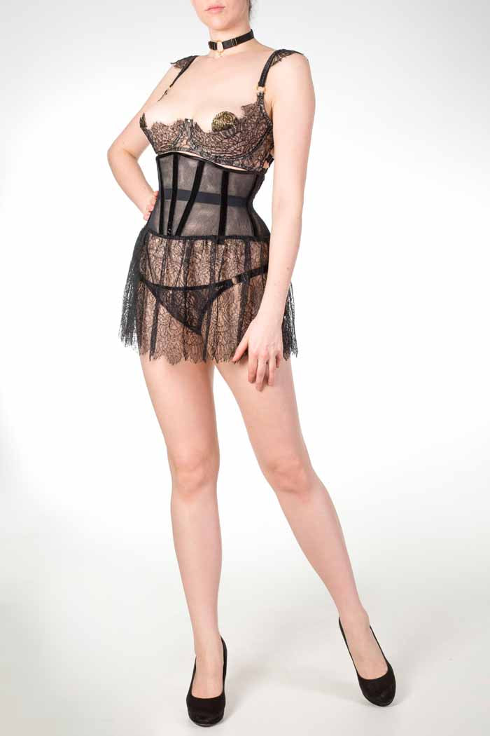 Aurora Skirted Lace Waspie Corset