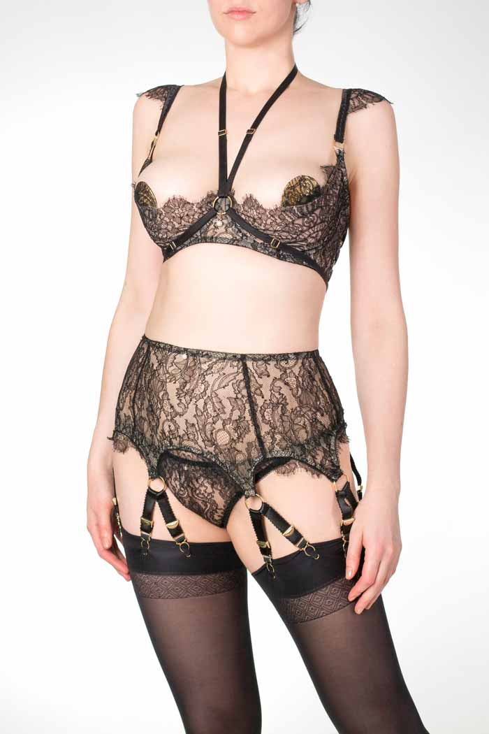 Aurora black lace open cup bra for DD - G cup sizes with 12 strap suspender belt