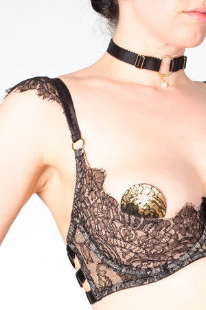 Aurora black lace luxury open cup bra for DD+ sizes