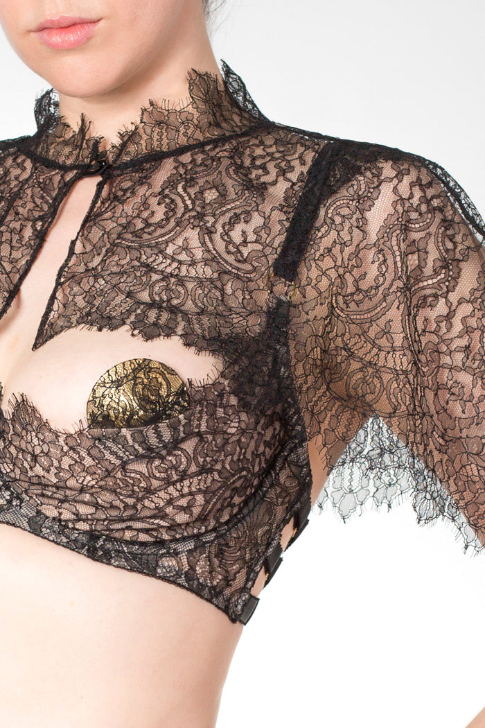 Aurora black scalloped lace cape with button fastening, and boudoir bra
