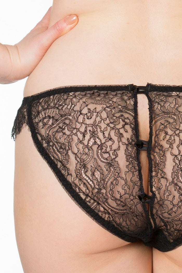 Aurora luxury ouvert knickers with button fastening detail