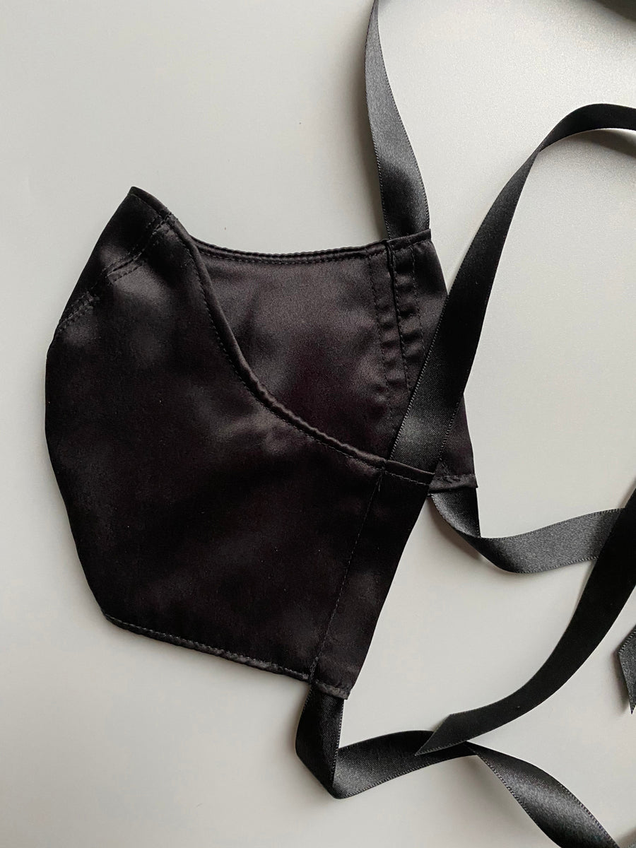 Black silk face mask with silk lining