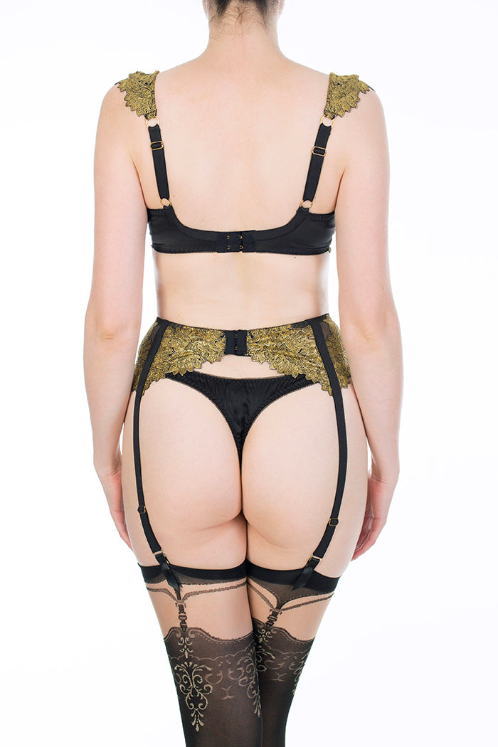 Callista black and gold luxury lingerie and garter belt with DD - G cup bra and silk thong
