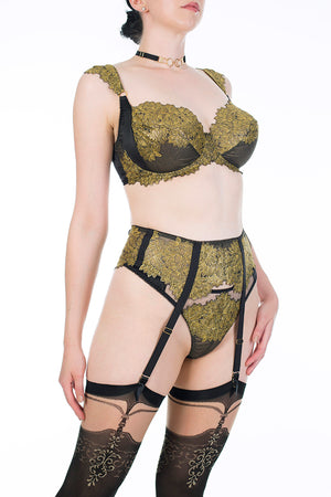 Callista black and gold DD - G Cup bra and gold lingerie set with garter belt and stockings