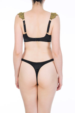 Callista black and gold silk luxury thong