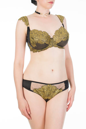 Callista black and gold metallic brief with matching DD cup bra