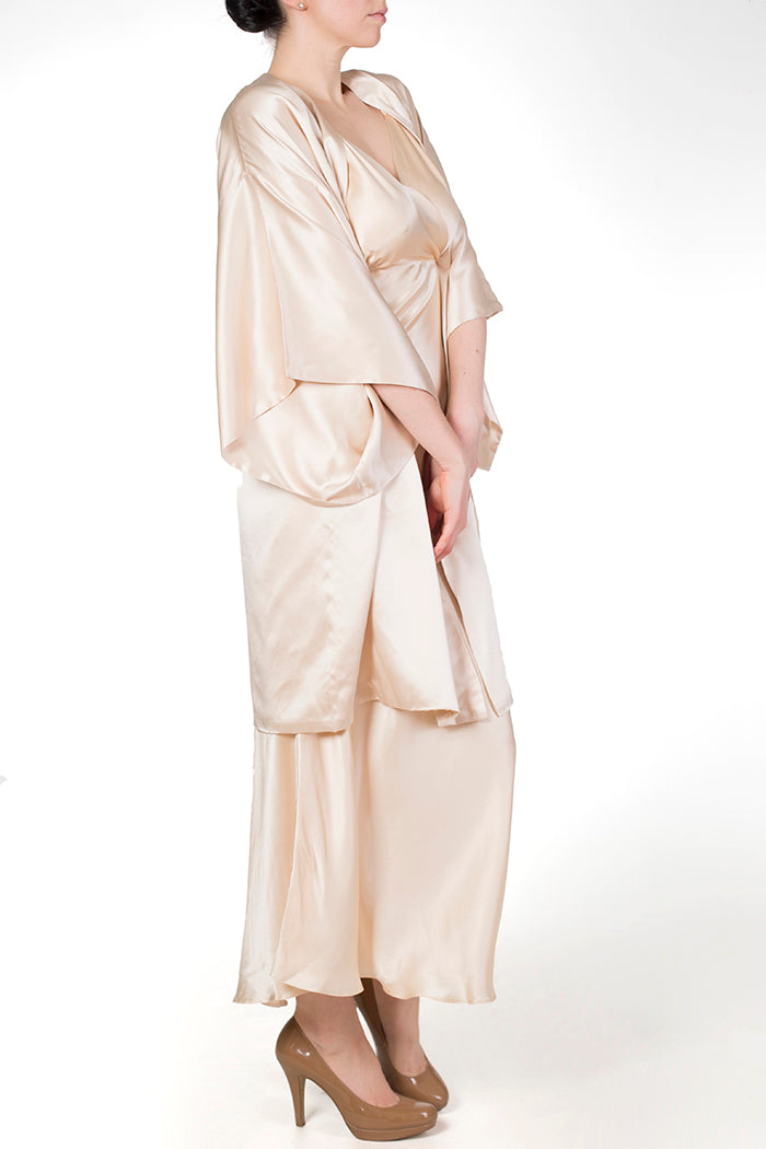 Cassiopeia Almond short silk kimono robe over long silk nightgown