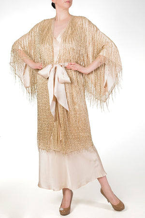 Cassiopeia Almond silk lined dressing gown layered with gold beaded robe and long silk nightgown