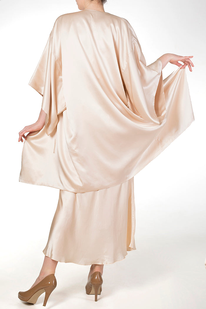 Cassiopeia Almond cream silk kimono robe with long silk nightgown