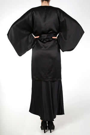 Black silk kimono robe with wide sleeves, worn with long black silk nightgown