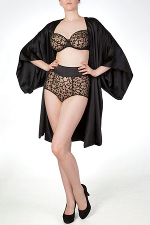Double lined black silk robe worn with Persephone sheer black and gold lingerie