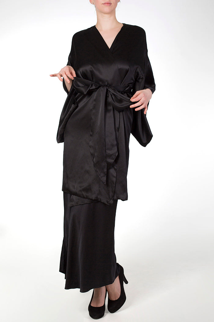 Cassiopeia black silk kimono robe worn with Persephone black silk gown